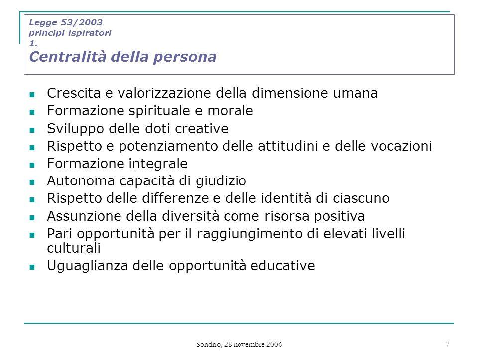 Sondrio, 28 novembre 2006 7 Legge 53/2003 principi ispiratori 1.