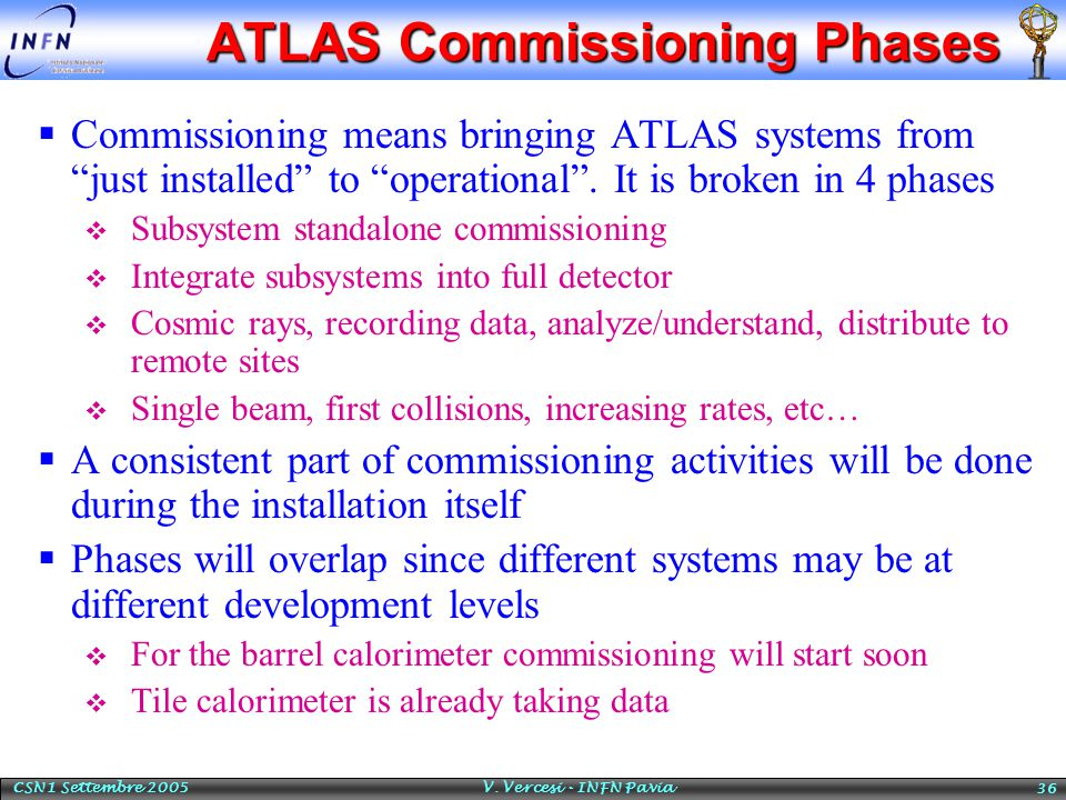 "CSN1 Settembre 2005 V. Vercesi - INFN Pavia 36 ATLAS Commissioning Phases  Commissioning means bringing ATLAS systems from ""just installed"" to ""opera"