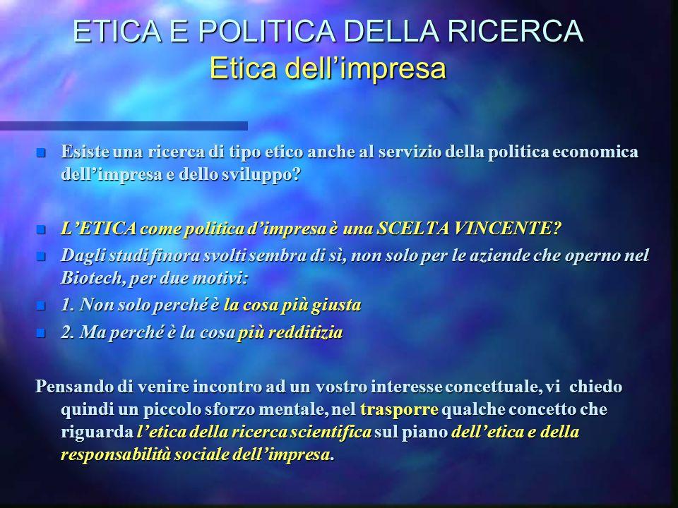ETICA E POLITICA DELLA RICERCA Etica dell'impresa n Esiste una ricerca di tipo etico anche al servizio della politica economica dell'impresa e dello s