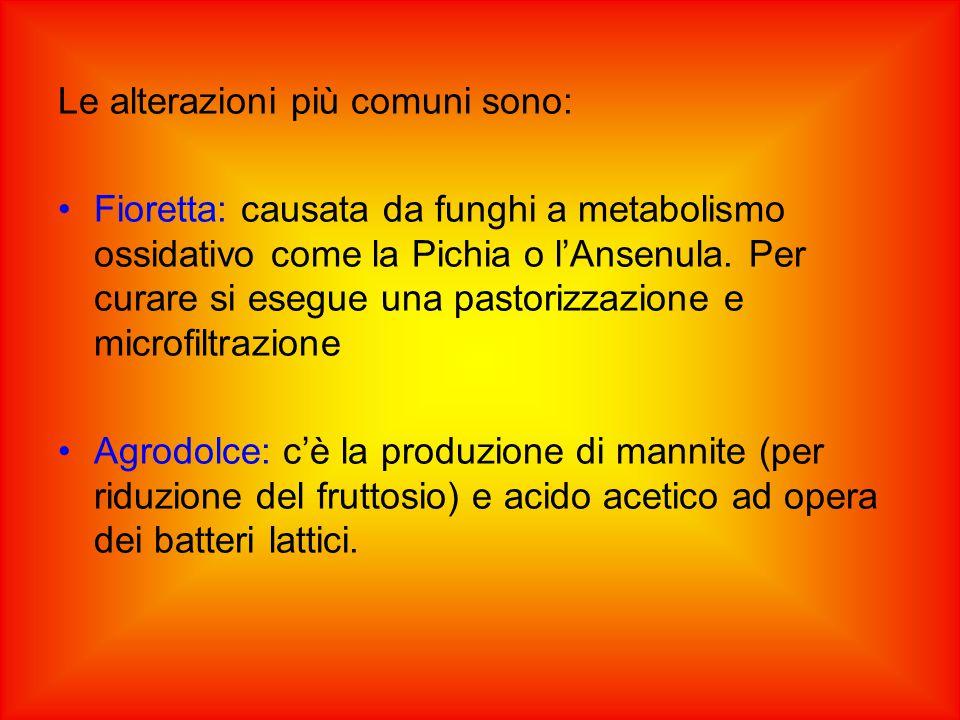Le alterazioni più comuni sono: Fioretta: causata da funghi a metabolismo ossidativo come la Pichia o l'Ansenula.