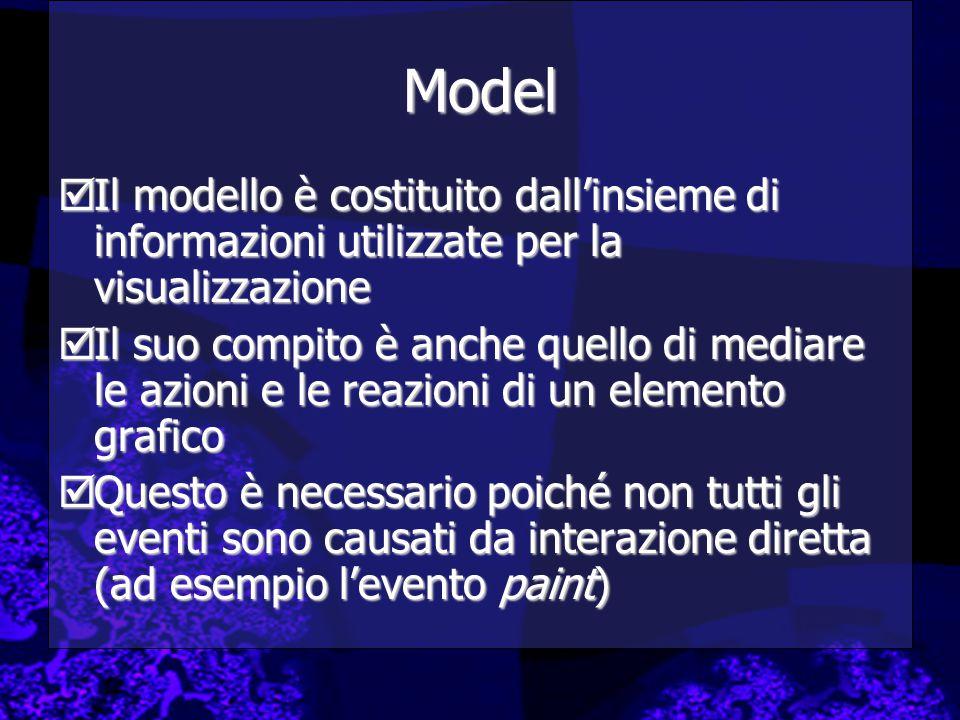 Model  Il modello è costituito dall'insieme di informazioni utilizzate per la visualizzazione  Il suo compito è anche quello di mediare le azioni e le reazioni di un elemento grafico  Questo è necessario poiché non tutti gli eventi sono causati da interazione diretta (ad esempio l'evento paint)