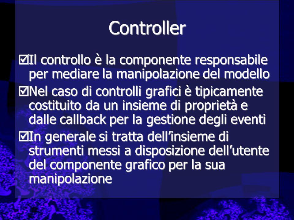 Controller  Il controllo è la componente responsabile per mediare la manipolazione del modello  Nel caso di controlli grafici è tipicamente costituito da un insieme di proprietà e dalle callback per la gestione degli eventi  In generale si tratta dell'insieme di strumenti messi a disposizione dell'utente del componente grafico per la sua manipolazione