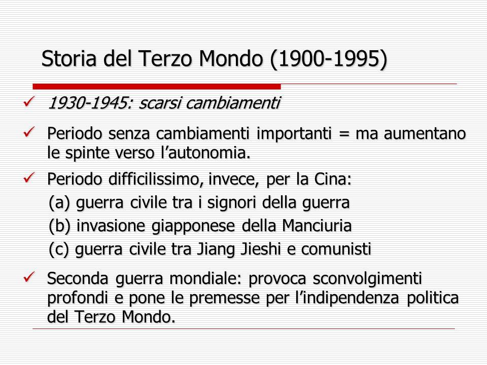 Storia del Terzo Mondo (1900-1995) 1930-1945: scarsi cambiamenti 1930-1945: scarsi cambiamenti Periodo senza cambiamenti importanti = ma aumentano le
