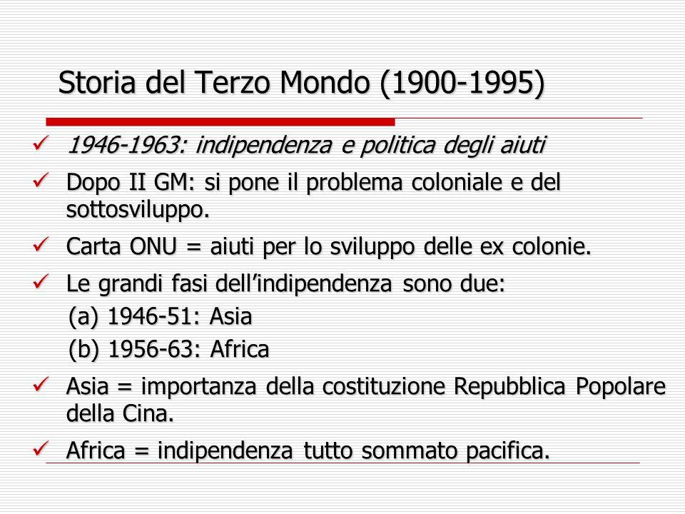 Storia del Terzo Mondo (1900-1995) 1946-1963: indipendenza e politica degli aiuti 1946-1963: indipendenza e politica degli aiuti Dopo II GM: si pone i
