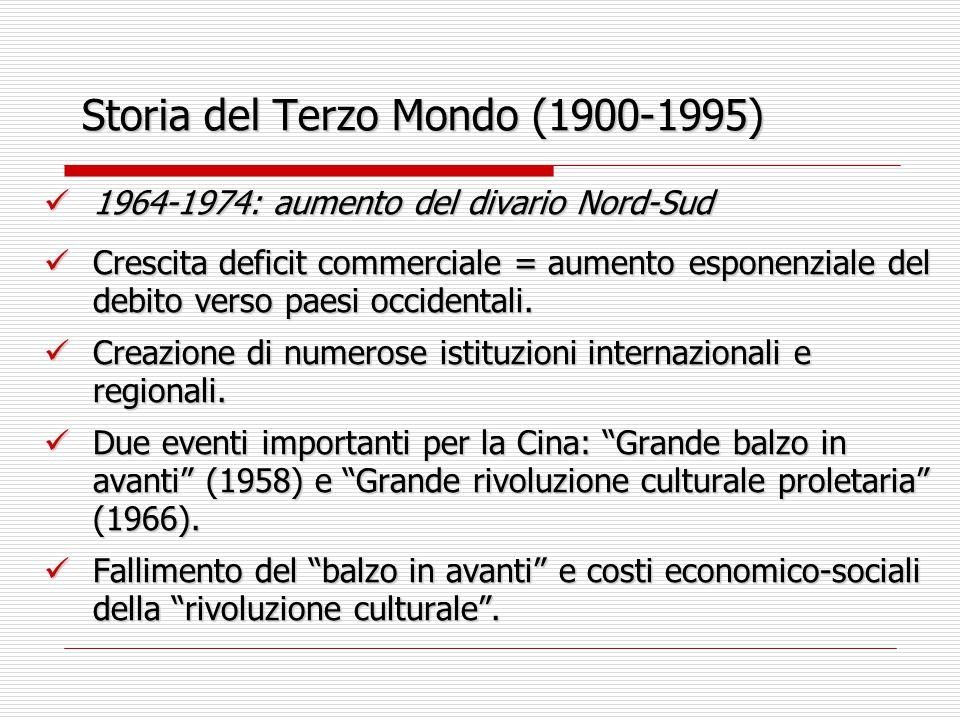 Storia del Terzo Mondo (1900-1995) 1964-1974: aumento del divario Nord-Sud 1964-1974: aumento del divario Nord-Sud Crescita deficit commerciale = aume