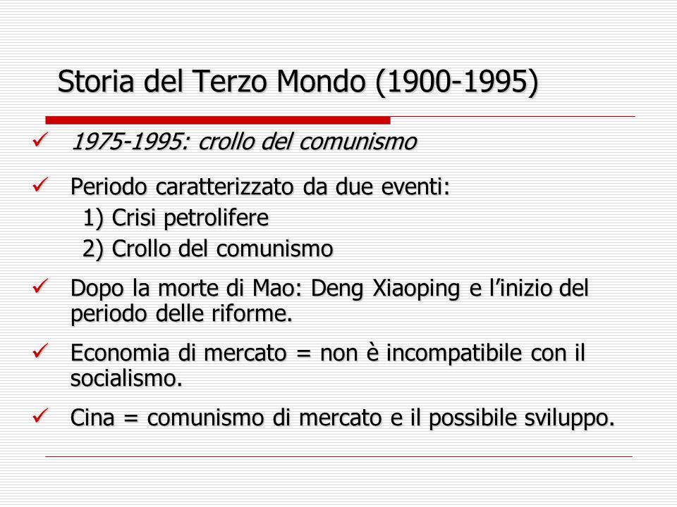 Storia del Terzo Mondo (1900-1995) 1975-1995: crollo del comunismo 1975-1995: crollo del comunismo Periodo caratterizzato da due eventi: Periodo carat