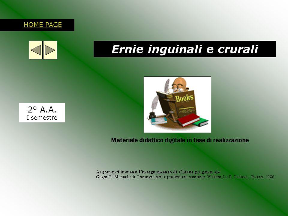 Ernie inguinali e crurali 2° A.A. I semestre HOME PAGE Materiale didattico digitale in fase di realizzazione