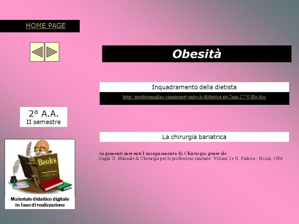 Inquadramento della dietista 2° A.A. II semestre http://medtriennaliao.campusnet.unito.it/didattica/att/2aaa.1770.file.doc Obesità La chirurgia bariat