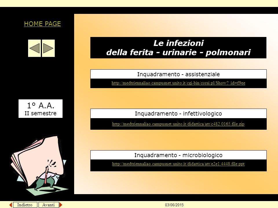 Indietro Avanti 03/06/2015 Le infezioni della ferita - urinarie - polmonari 1° A.A. II semestre Inquadramento - microbiologico http://medtriennaliao.c