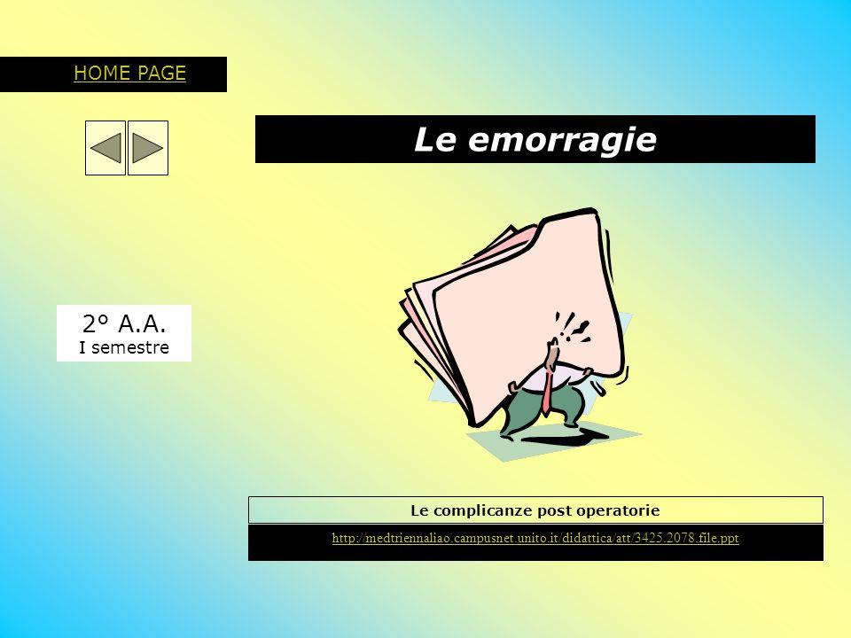 Le emorragie 2° A.A. I semestre HOME PAGE Le complicanze post operatorie http://medtriennaliao.campusnet.unito.it/didattica/att/3425.2078.file.ppt
