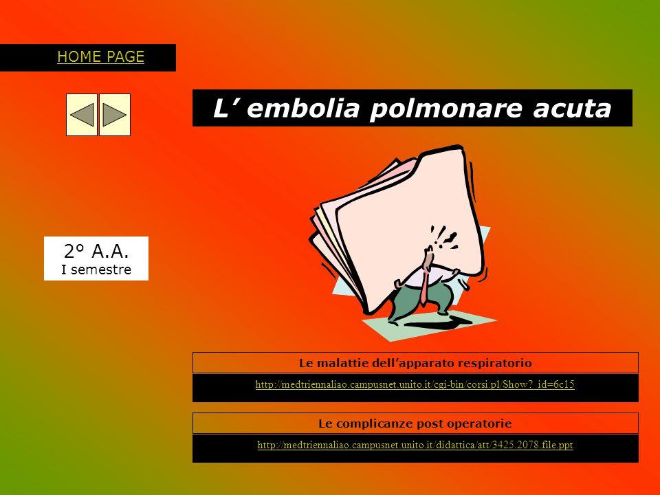 L' embolia polmonare acuta 2° A.A. I semestre http://medtriennaliao.campusnet.unito.it/cgi-bin/corsi.pl/Show?_id=6c15 HOME PAGE Le malattie dell'appar