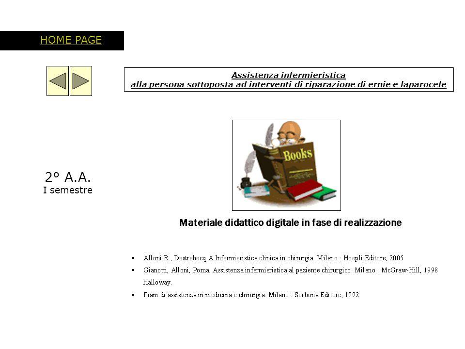 Assistenza infermieristica alla persona sottoposta ad interventi di riparazione di ernie e laparocele HOME PAGE Materiale didattico digitale in fase d