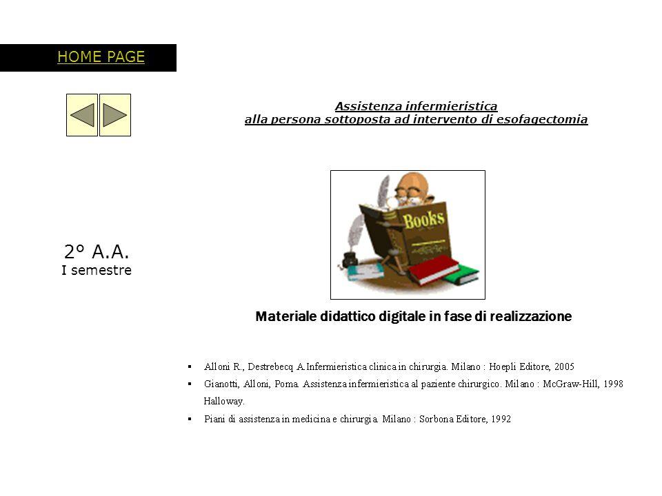 Assistenza infermieristica alla persona sottoposta ad intervento di esofagectomia HOME PAGE Materiale didattico digitale in fase di realizzazione 2° A