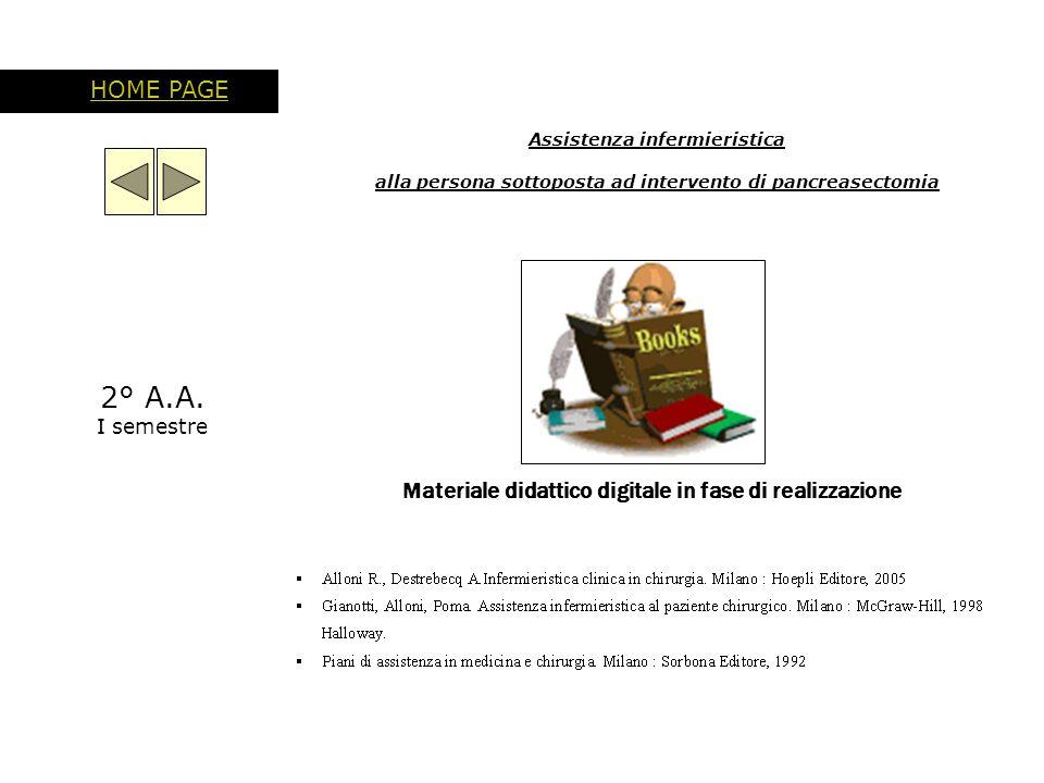 Assistenza infermieristica alla persona sottoposta ad intervento di pancreasectomia HOME PAGE Materiale didattico digitale in fase di realizzazione 2°