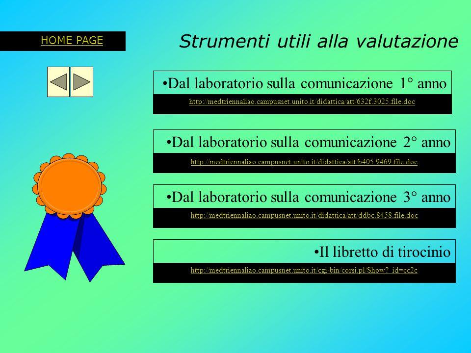 Strumenti utili alla valutazione HOME PAGE http://medtriennaliao.campusnet.unito.it/didattica/att/b405.9469.file.doc http://medtriennaliao.campusnet.u