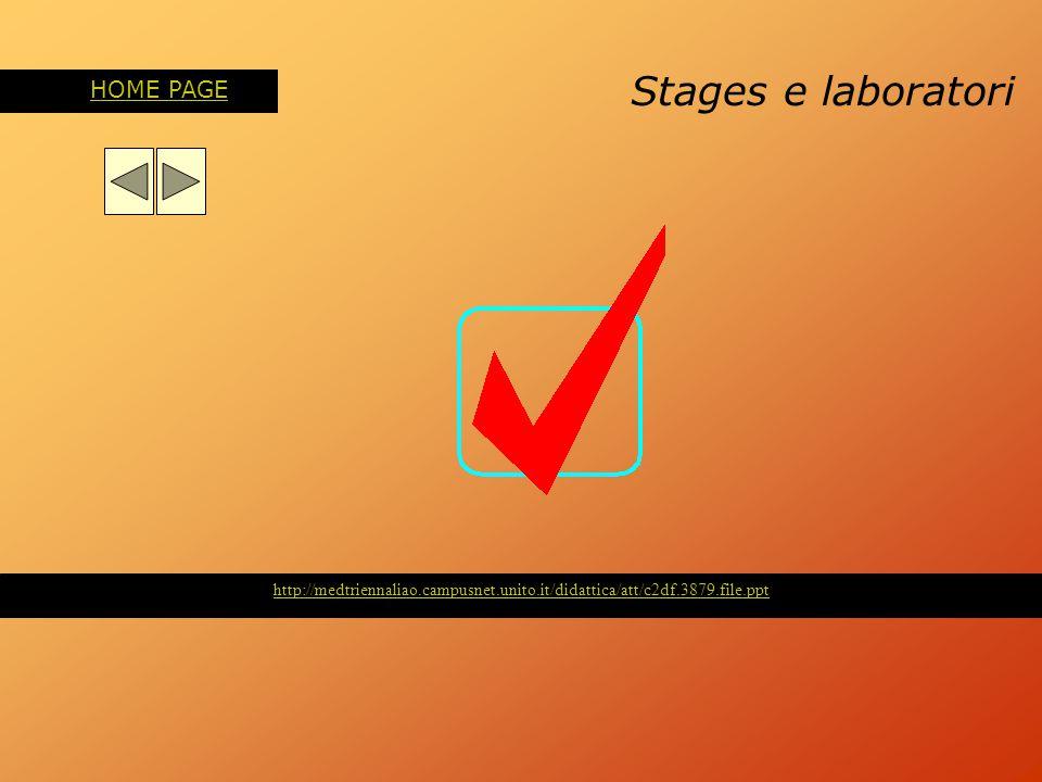 Stages e laboratori HOME PAGE http://medtriennaliao.campusnet.unito.it/didattica/att/c2df.3879.file.ppt