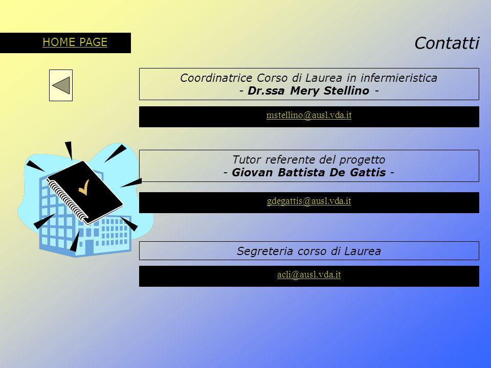 Contatti HOME PAGE Coordinatrice Corso di Laurea in infermieristica - Dr.ssa Mery Stellino - mstellino@ausl.vda.it Tutor referente del progetto - Giov