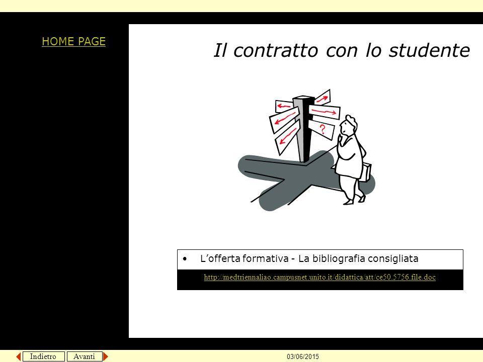 Indietro Avanti 03/06/2015 Il contratto con lo studente L'offerta formativa - La bibliografia consigliata HOME PAGE http://medtriennaliao.campusnet.un