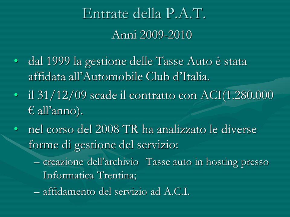 Entrate della P.A.T. dal 1999 la gestione delle Tasse Auto è stata affidata all'Automobile Club d'Italia.dal 1999 la gestione delle Tasse Auto è stata