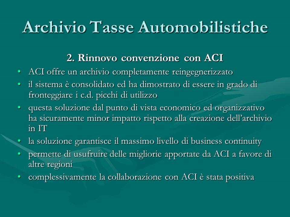 Archivio Tasse Automobilistiche 2. Rinnovo convenzione con ACI ACI offre un archivio completamente reingegnerizzatoACI offre un archivio completamente