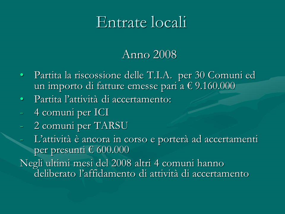 Entrate locali Partita la riscossione delle T.I.A. per 30 Comuni ed un importo di fatture emesse pari a € 9.160.000Partita la riscossione delle T.I.A.