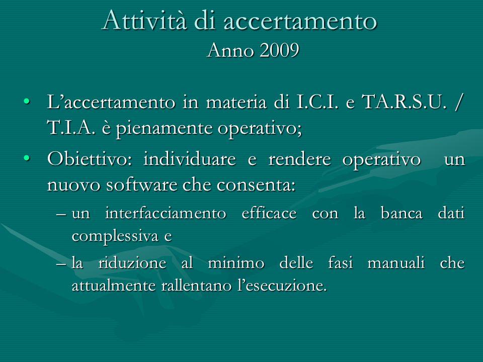 Attività di accertamento L'accertamento in materia di I.C.I. e TA.R.S.U. / T.I.A. è pienamente operativo;L'accertamento in materia di I.C.I. e TA.R.S.