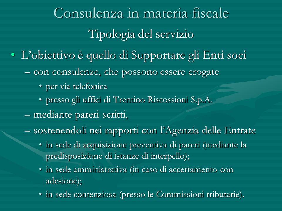 L'obiettivo è quello di Supportare gli Enti sociL'obiettivo è quello di Supportare gli Enti soci –con consulenze, che possono essere erogate per via telefonicaper via telefonica presso gli uffici di Trentino Riscossioni S.p.A.presso gli uffici di Trentino Riscossioni S.p.A.