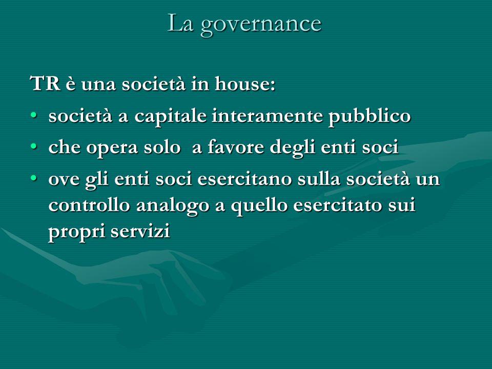 La governance TR è una società in house: società a capitale interamente pubblicosocietà a capitale interamente pubblico che opera solo a favore degli enti sociche opera solo a favore degli enti soci ove gli enti soci esercitano sulla società un controllo analogo a quello esercitato sui propri serviziove gli enti soci esercitano sulla società un controllo analogo a quello esercitato sui propri servizi