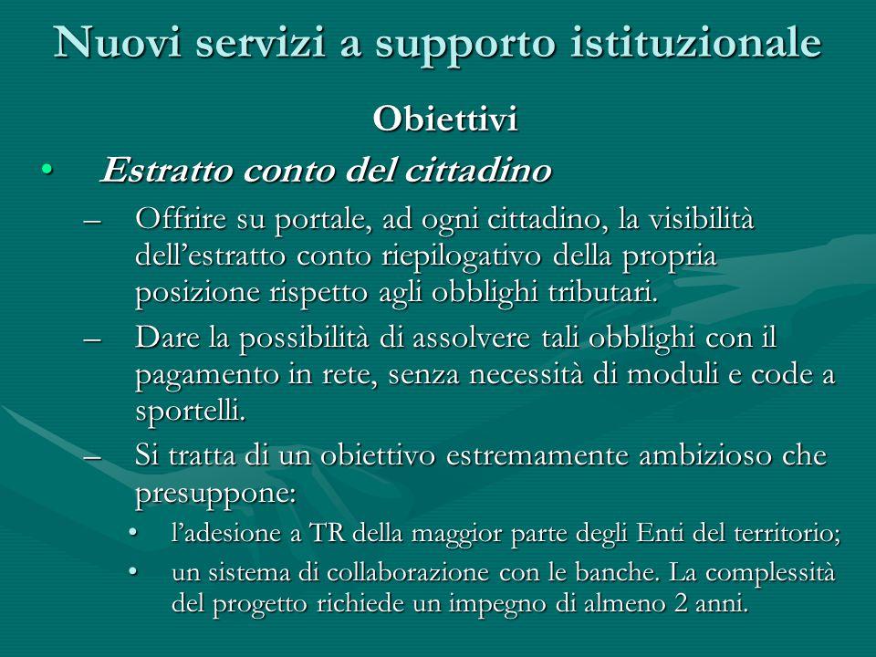 Obiettivi Estratto conto del cittadinoEstratto conto del cittadino –Offrire su portale, ad ogni cittadino, la visibilità dell'estratto conto riepiloga