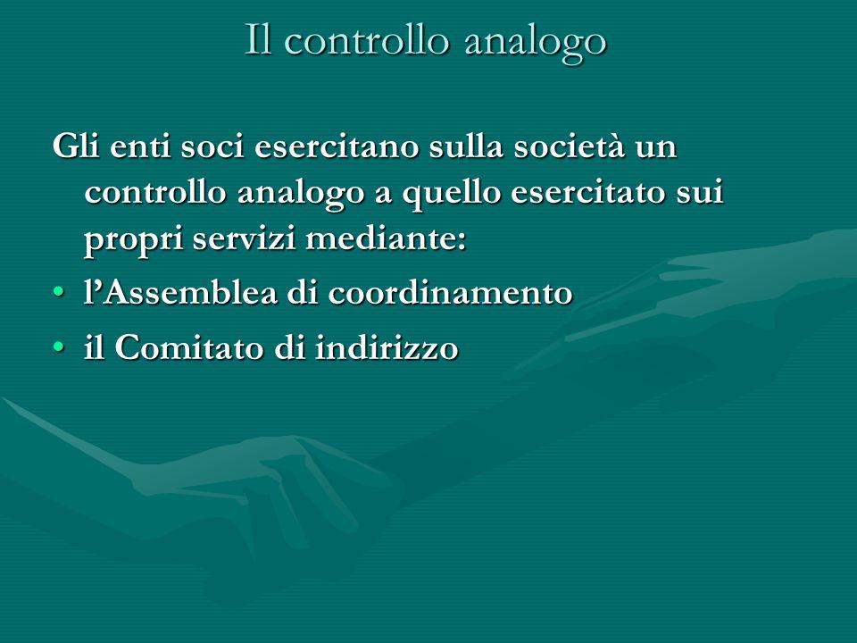 Il controllo analogo Gli enti soci esercitano sulla società un controllo analogo a quello esercitato sui propri servizi mediante: l'Assemblea di coord