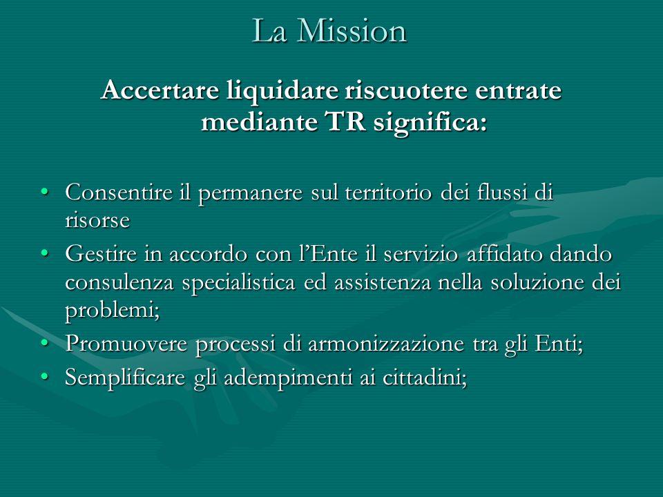 La Mission Accertare liquidare riscuotere entrate mediante TR significa: Consentire il permanere sul territorio dei flussi di risorseConsentire il per