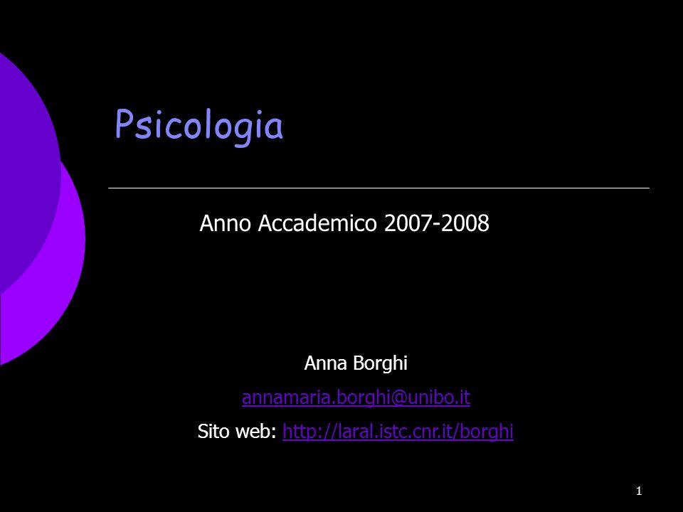 1 Psicologia Anno Accademico 2007-2008 Anna Borghi annamaria.borghi@unibo.it Sito web: http://laral.istc.cnr.it/borghihttp://laral.istc.cnr.it/borghi