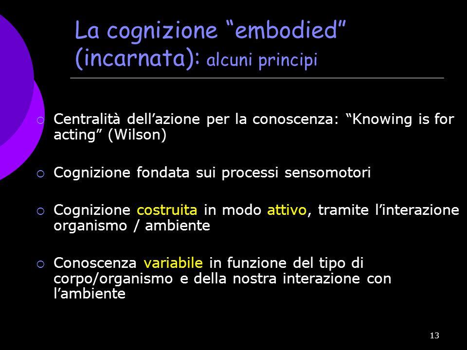 """13 La cognizione """"embodied"""" (incarnata): alcuni principi  Centralit à dell ' azione per la conoscenza: """" Knowing is for acting """" (Wilson)  Cognizion"""