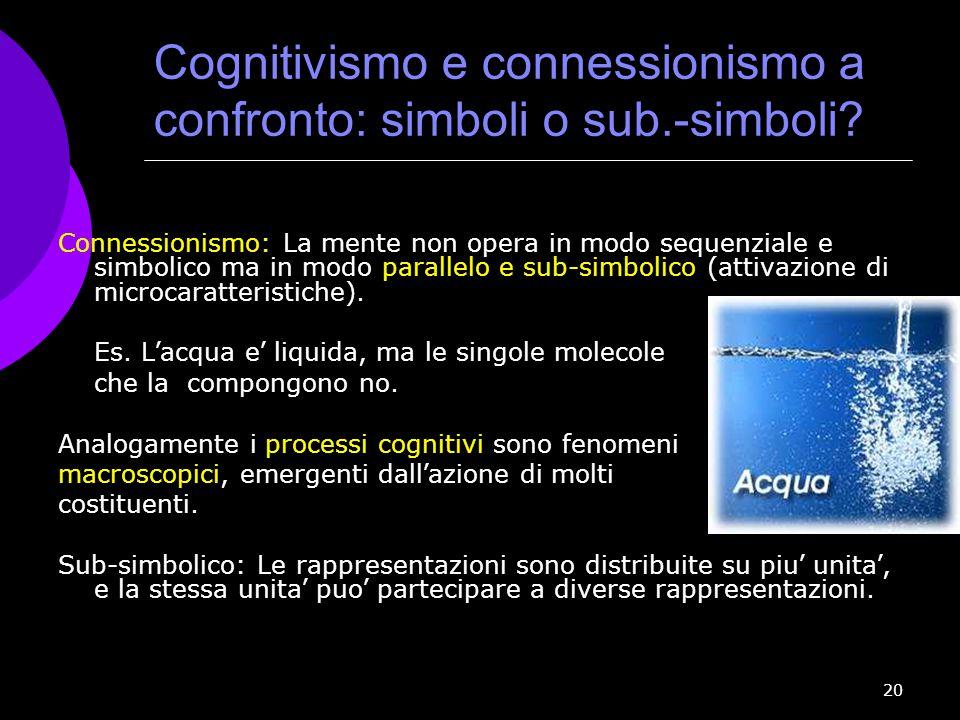 20 Connessionismo: La mente non opera in modo sequenziale e simbolico ma in modo parallelo e sub-simbolico (attivazione di microcaratteristiche). Es.
