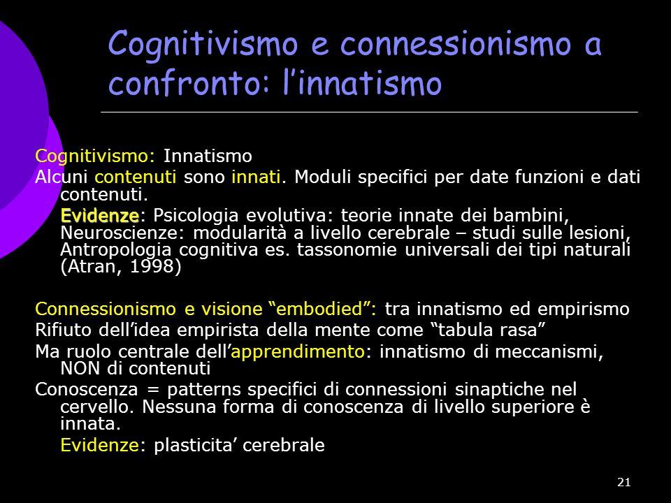 21 Cognitivismo e connessionismo a confronto: l'innatismo Cognitivismo: Innatismo Alcuni contenuti sono innati. Moduli specifici per date funzioni e d