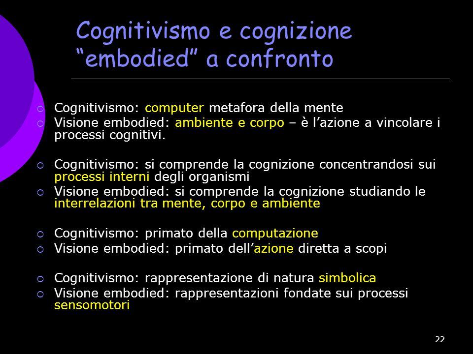 """22 Cognitivismo e cognizione """"embodied"""" a confronto  Cognitivismo: computer metafora della mente  Visione embodied: ambiente e corpo – è l'azione a"""