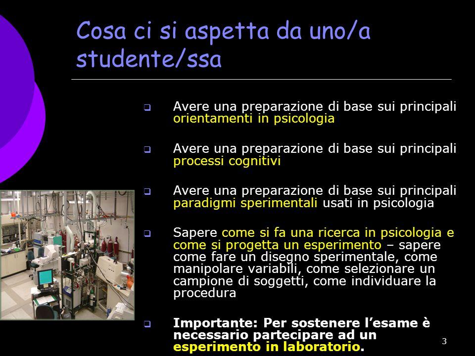 3 Cosa ci si aspetta da uno/a studente/ssa  Avere una preparazione di base sui principali orientamenti in psicologia  Avere una preparazione di base