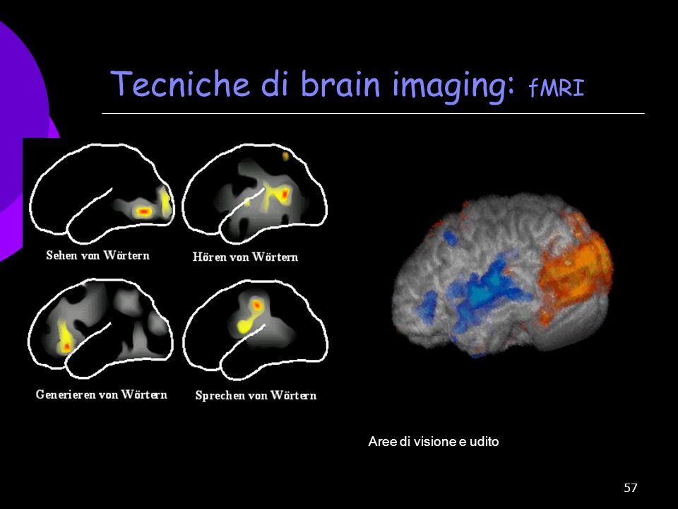 57 Tecniche di brain imaging: fMRI Aree di visione e udito