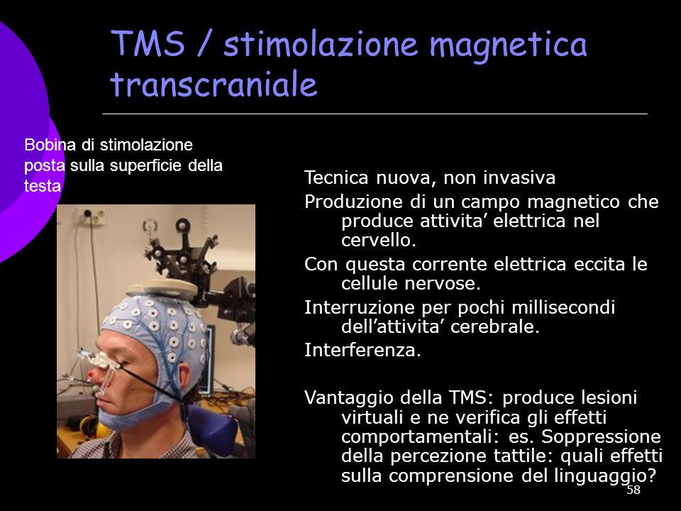 58 TMS / stimolazione magnetica transcraniale Tecnica nuova, non invasiva Produzione di un campo magnetico che produce attivita ' elettrica nel cervel