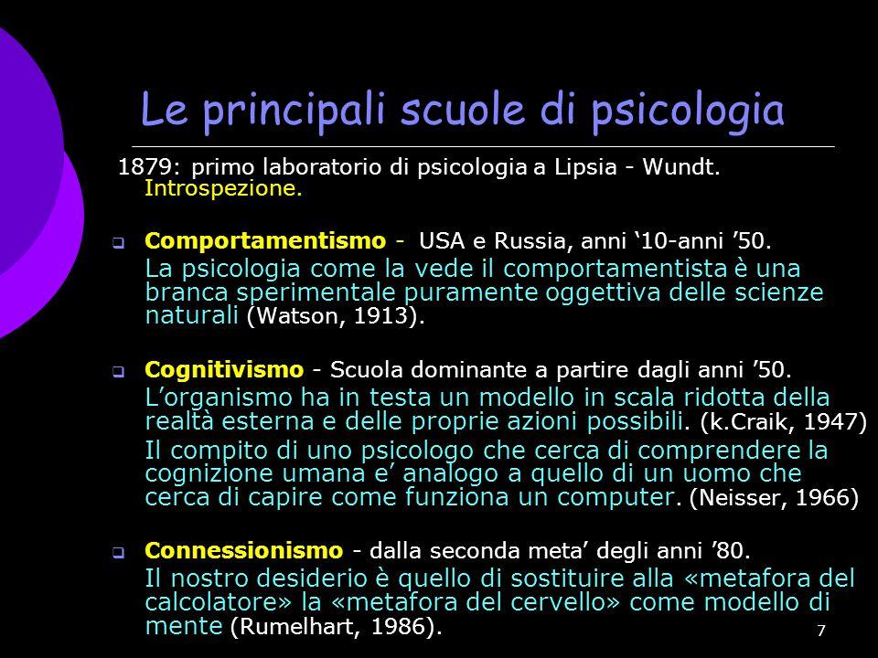 7 Le principali scuole di psicologia 1879: primo laboratorio di psicologia a Lipsia - Wundt. Introspezione.  Comportamentismo - USA e Russia, anni '