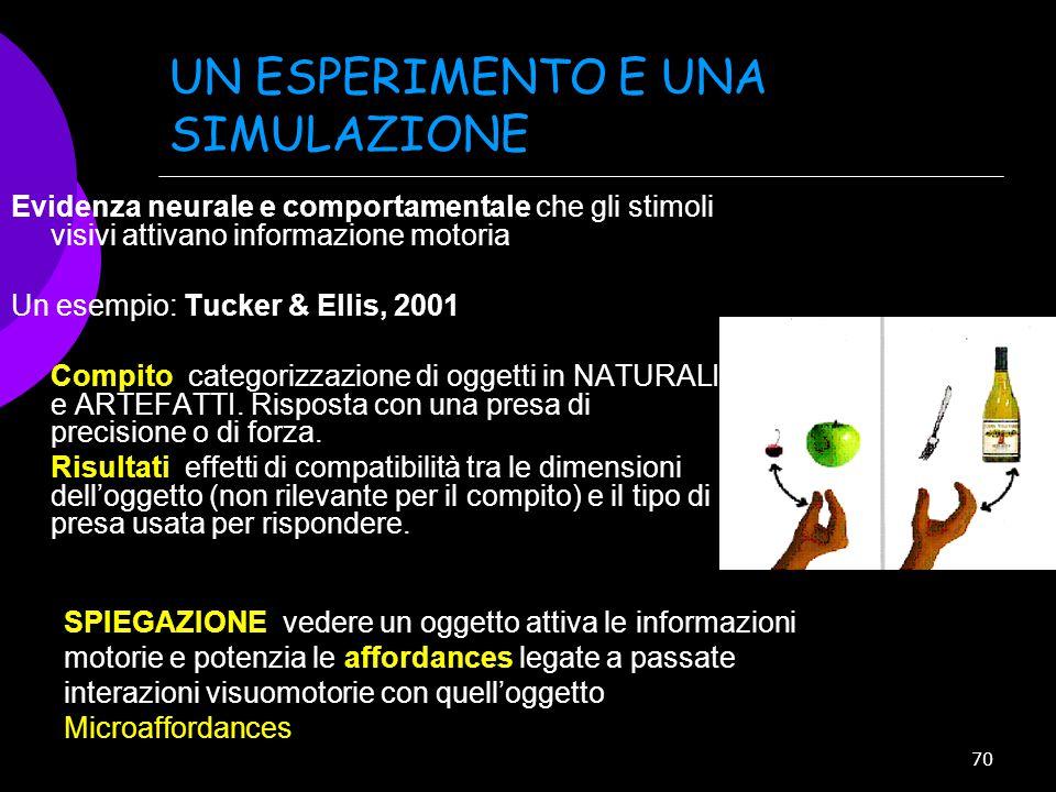 70 UN ESPERIMENTO E UNA SIMULAZIONE Evidenza neurale e comportamentale che gli stimoli visivi attivano informazione motoria Un esempio: Tucker & Ellis