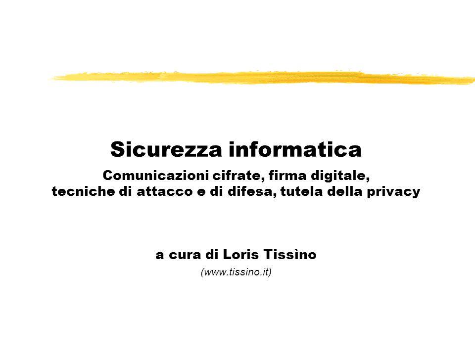 Sicurezza informatica Comunicazioni cifrate, firma digitale, tecniche di attacco e di difesa, tutela della privacy a cura di Loris Tissìno (www.tissin