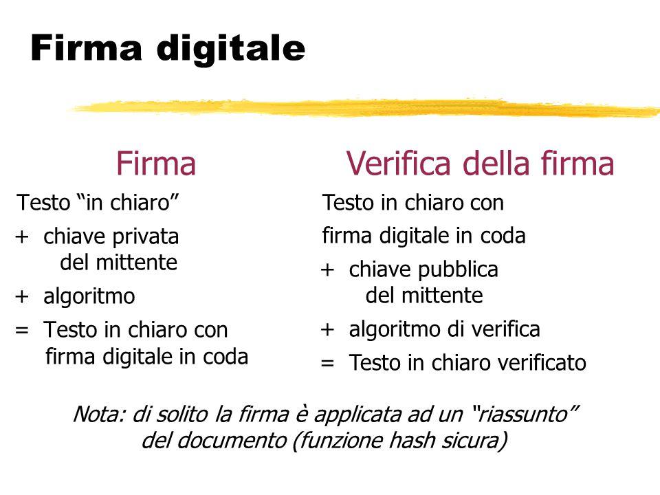 """Firma digitale Firma Testo """"in chiaro"""" + chiave privata del mittente + algoritmo = Testo in chiaro con firma digitale in coda Verifica della firma Tes"""