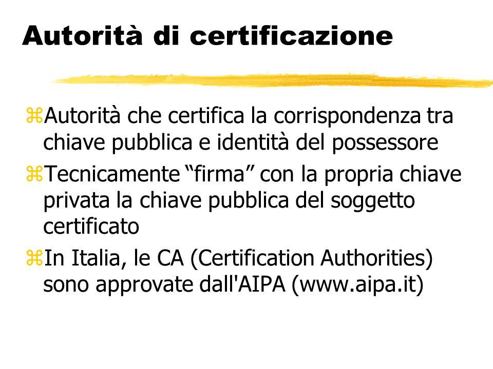 """Autorità di certificazione  Autorità che certifica la corrispondenza tra chiave pubblica e identità del possessore  Tecnicamente """"firma"""" con la prop"""
