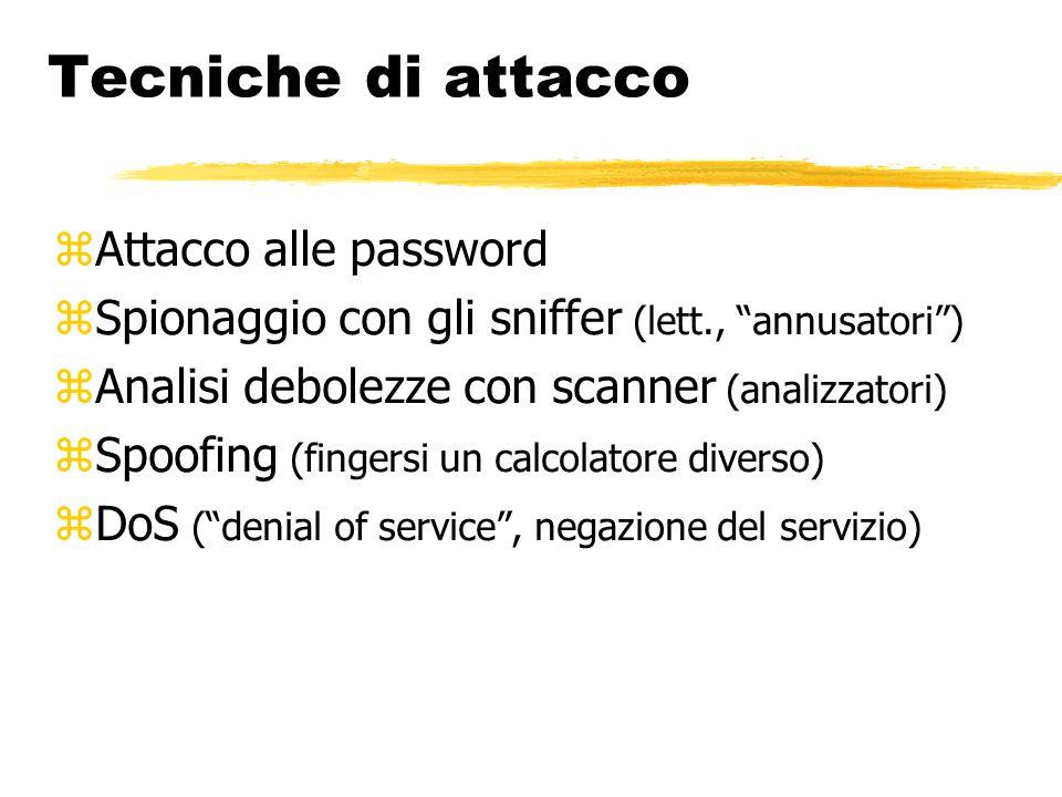 """Tecniche di attacco  Attacco alle password  Spionaggio con gli sniffer (lett., """"annusatori"""")  Analisi debolezze con scanner (analizzatori)  Spoofi"""