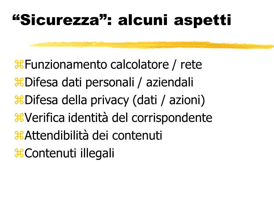 """""""Sicurezza"""": alcuni aspetti  Funzionamento calcolatore / rete  Difesa dati personali / aziendali  Difesa della privacy (dati / azioni)  Verifica i"""