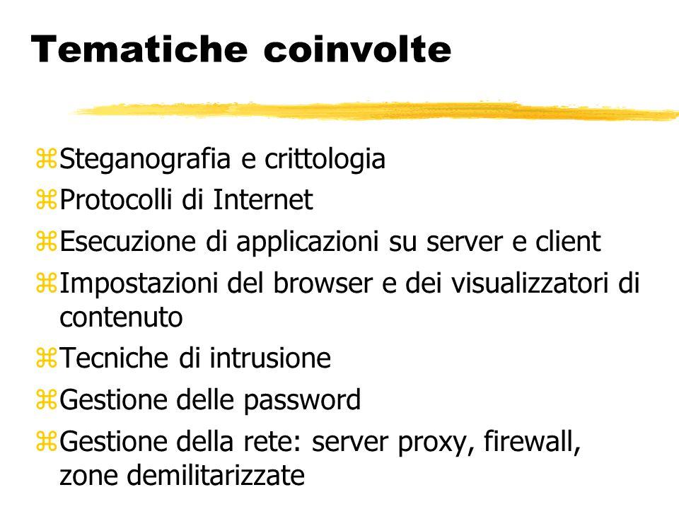 Tematiche coinvolte  Steganografia e crittologia  Protocolli di Internet  Esecuzione di applicazioni su server e client  Impostazioni del browser