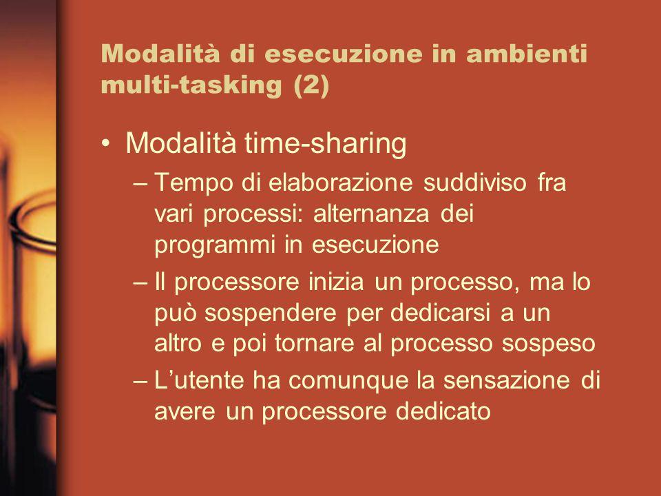 Modalità di esecuzione in ambienti multi-tasking (2) Modalità time-sharing –Tempo di elaborazione suddiviso fra vari processi: alternanza dei programmi in esecuzione –Il processore inizia un processo, ma lo può sospendere per dedicarsi a un altro e poi tornare al processo sospeso –L'utente ha comunque la sensazione di avere un processore dedicato