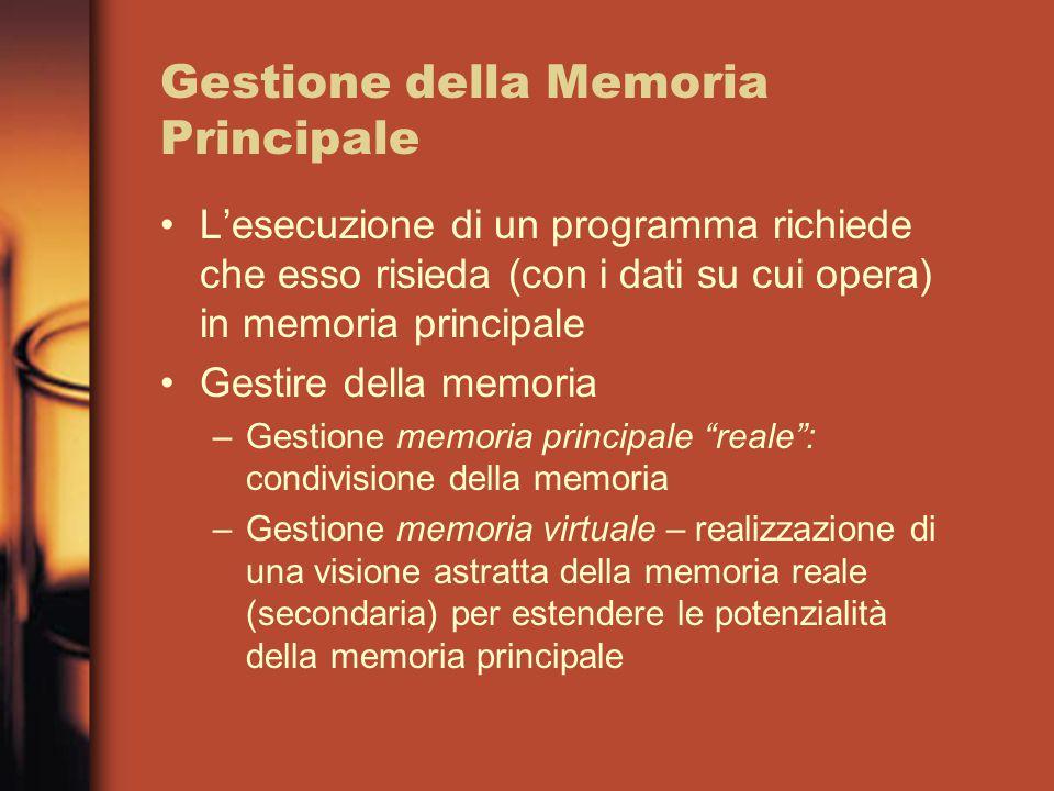 Gestione della Memoria Principale L'esecuzione di un programma richiede che esso risieda (con i dati su cui opera) in memoria principale Gestire della memoria –Gestione memoria principale reale : condivisione della memoria –Gestione memoria virtuale – realizzazione di una visione astratta della memoria reale (secondaria) per estendere le potenzialità della memoria principale