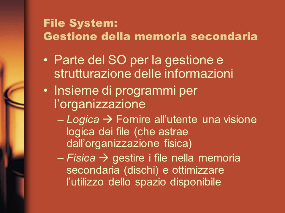 File System: Gestione della memoria secondaria Parte del SO per la gestione e strutturazione delle informazioni Insieme di programmi per l'organizzazione –Logica  Fornire all'utente una visione logica dei file (che astrae dall'organizzazione fisica) –Fisica  gestire i file nella memoria secondaria (dischi) e ottimizzare l'utilizzo dello spazio disponibile